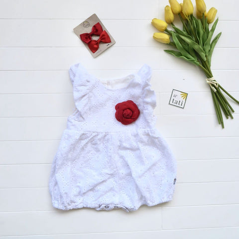 Orchid Playsuit - Ruffle Sleeves in White Daisy Eyelet-Lil' Tati