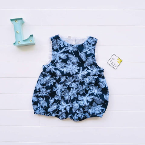 Orchid Playsuit in Blue Coconut Trees Print