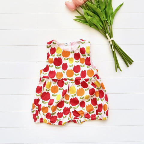 Orchid Playsuit in Bright Tulips Print-Lil' Tati