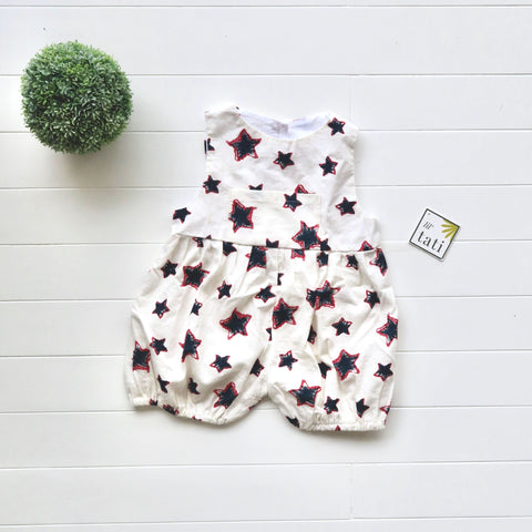 Orchid Playsuit with Front Pocket in Stars Doodle Print-Lil' Tati