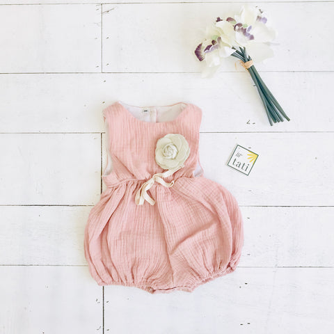 Orchid Playsuit - Waist Tie in Crepe - Pale Blush
