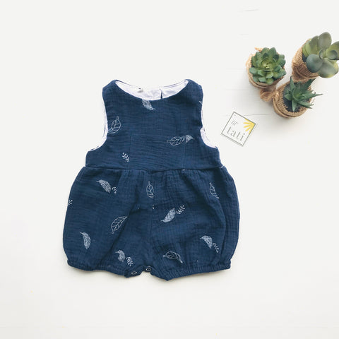 Orchid Playsuit in Crepe - Leafy Dark Blue-Lil' Tati