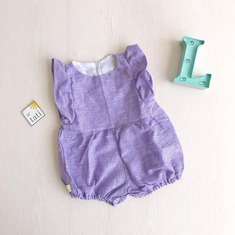 Orchid Playsuit - Ruffle Sleeves in Purple Checkered Linen - Lil' Tati