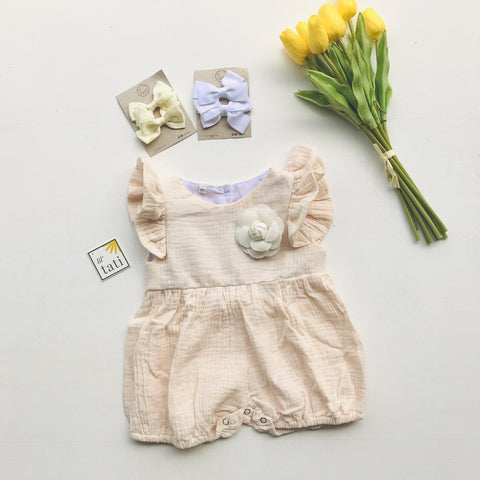 Orchid Playsuit - Ruffle Sleeves in Crepe - Cream-Lil' Tati