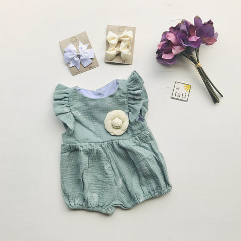 Orchid Playsuit - Ruffle Sleeves in Crepe - Leafy Sage Green - Lil' Tati