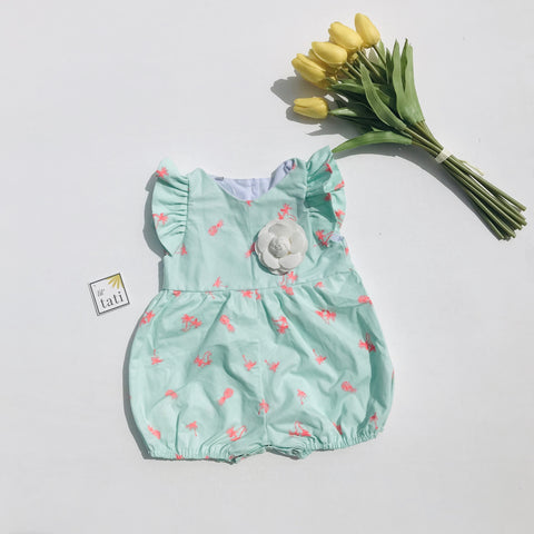 Orchid Playsuit - Ruffle Sleeves in Tropical Mint - Lil' Tati