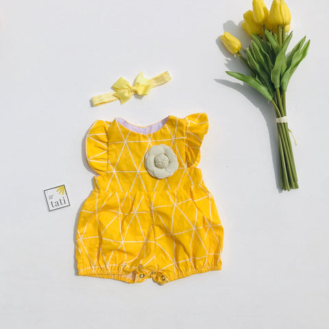 Orchid Playsuit - Ruffle Sleeves in Yellow Triangle-Lil' Tati