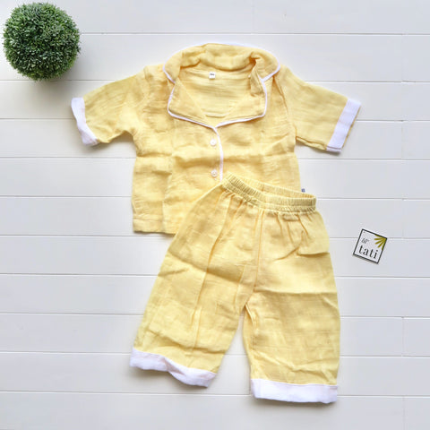 Pajama Set in Muslin - Yellow-Lil' Tati