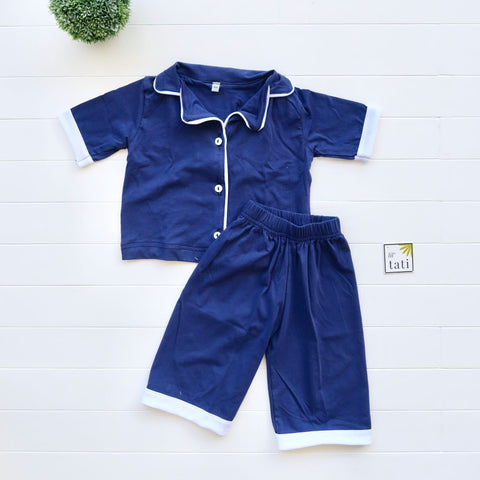 Pajama Set in Cotton Stretch - Navy Blue-Lil' Tati