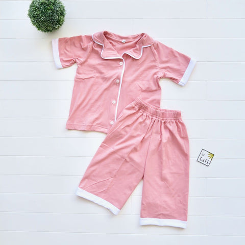 Pajama Set in Cotton Stretch - Pink-Lil' Tati