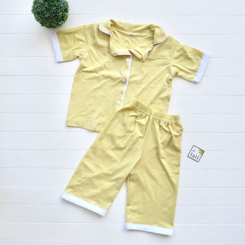 Pajama Set in Cotton Stretch - Yellow-Lil' Tati