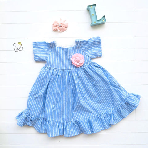 Pansy Dress - Ruffle Shirt in Blue Bell Stripes Linen