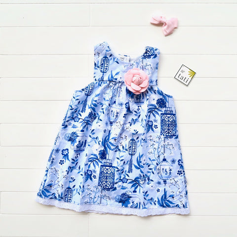 Peony Dress in Asian Porcelain Print