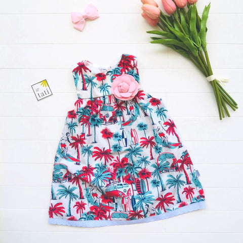 Peony Dress in Cotton Beach Dude Print-Lil' Tati