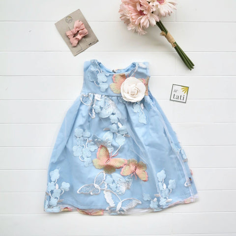 Peony Dress in Blue Butterfly Tulle-Lil' Tati