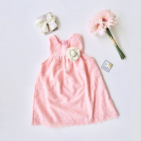Peony Dress in Bright Peach Eyelet-Lil' Tati