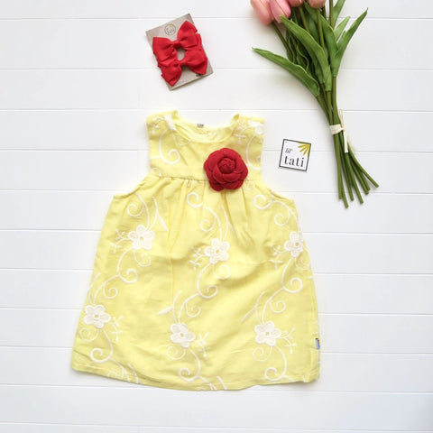 Peony Dress in Fancy Yellow Lace-Lil' Tati