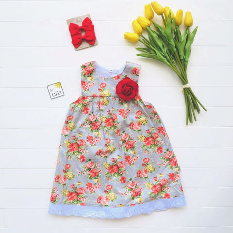 Peony Dress in Flowers Gray Print-Lil' Tati