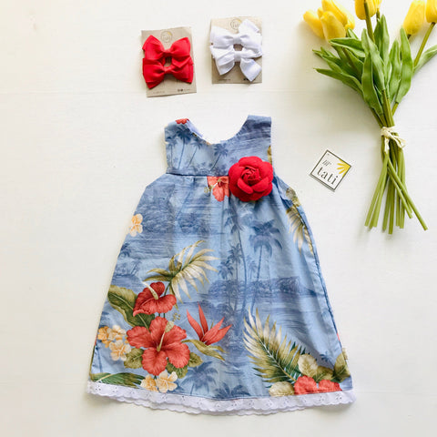 Peony Dress in Hawaiian Blue - Lil' Tati