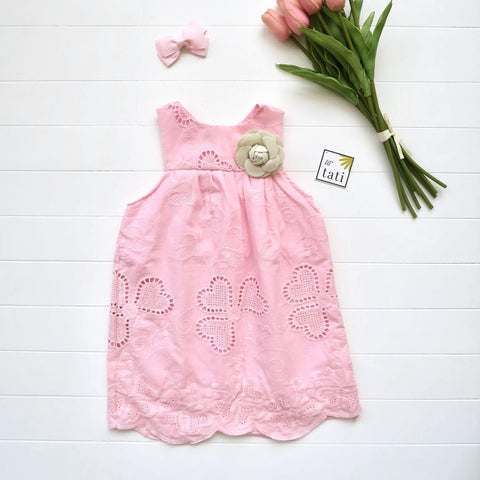 Peony Dress in Hearts Eyelet Pink-Lil' Tati