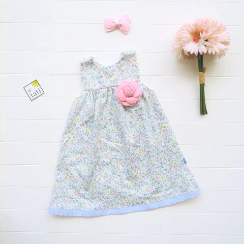 Peony Dress in Mini Garden Pastels Print-Lil' Tati