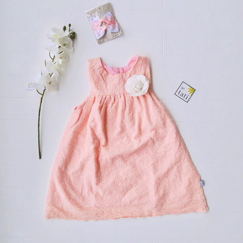 Peony Dress in Peach Eyelet-Lil' Tati