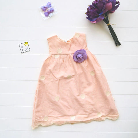 Peony Dress in Peach Polka Embroidery-Lil' Tati