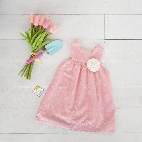 Peony Dress in Rose Pink Eyelet-Lil' Tati