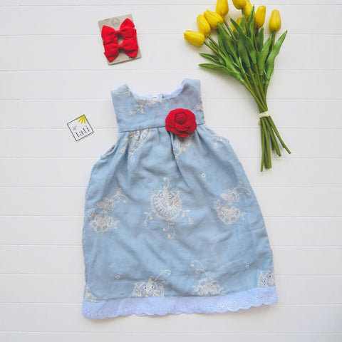 Peony Dress in Sky Embroidery-Lil' Tati
