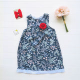 Peony Dress in Teal Garden Print-Lil' Tati