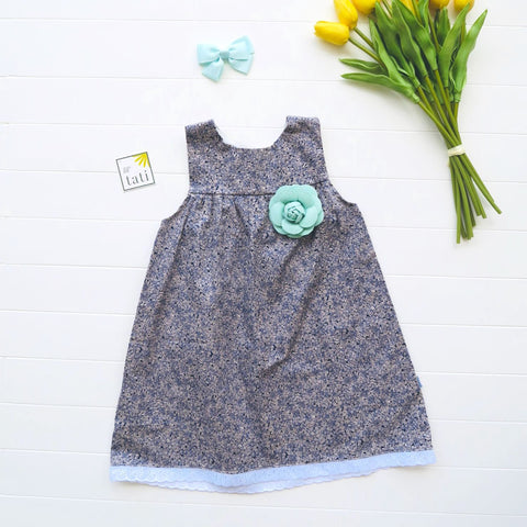 Peony Dress in Tiny Flowers Blue Print-Lil' Tati