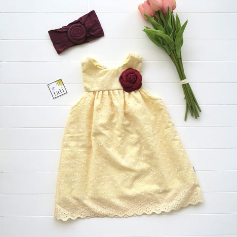 Peony Dress in Yellow Eyelet-Lil' Tati