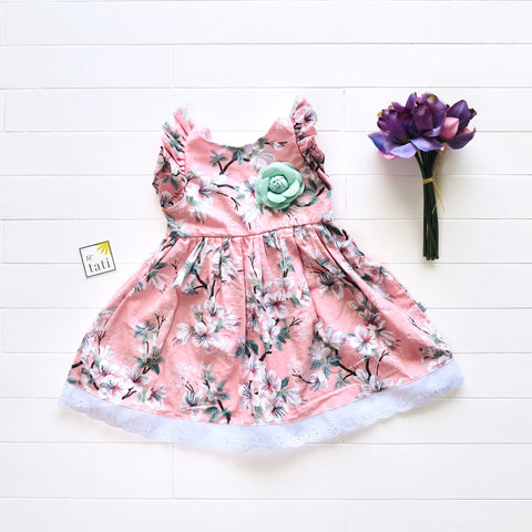 Periwinkle Dress in Flower Tree Pink Print-Lil' Tati
