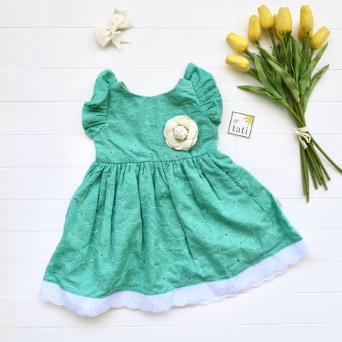 Periwinkle Dress in Jade Floral Eyelet-Lil' Tati