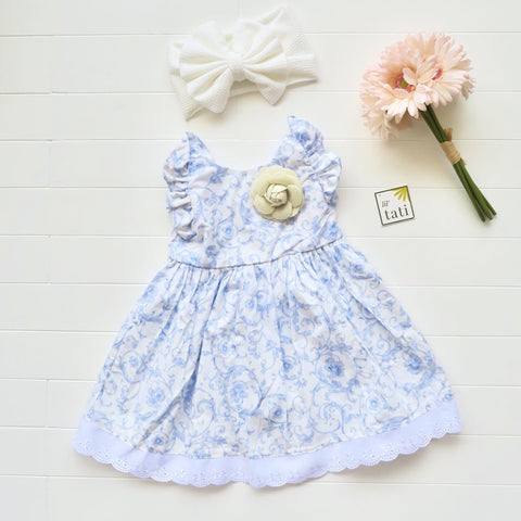 Periwinkle Dress in Porcelain Print-Lil' Tati