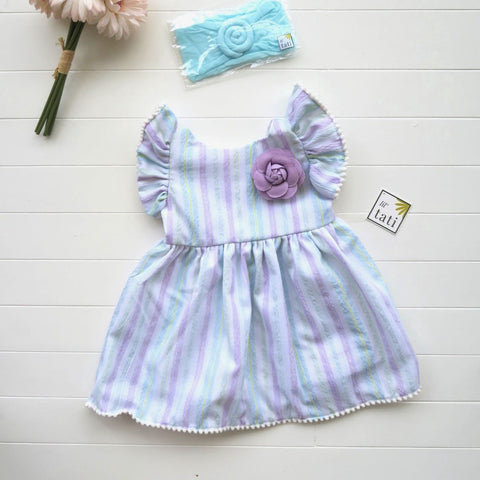Periwinkle Dress in Purple Mint Stripes-Lil' Tati