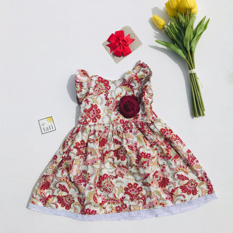 Periwinkle Dress in Red Paisley-Lil' Tati