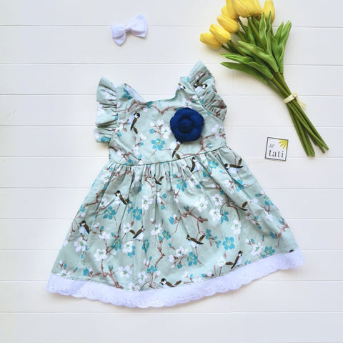 Periwinkle Dress in Serene Birds Print-Lil' Tati