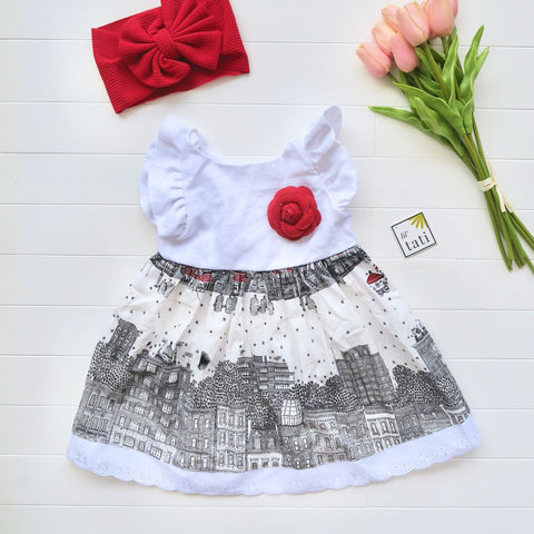 Periwinkle Dress in White Linen & Skyline Red Print-Lil' Tati