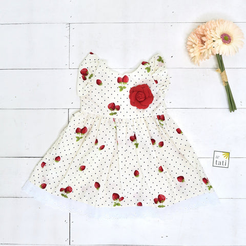 Periwinkle Dress in Strawberry Polka Print-Lil' Tati