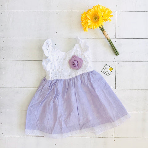 Periwinkle Dress in White Eyelet & Purple Linen-Lil' Tati
