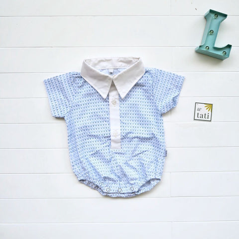 Pine Collared Onesie in Tiny Blue Diamonds-Lil' Tati