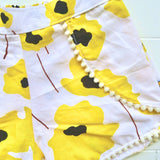Pompom Shorts in Yellow Flowers