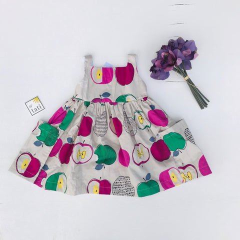 Poppy Dress in Artsy Apple Magenta Print-Lil' Tati