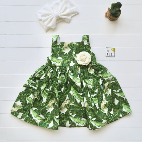Poppy Dress in Banana Leaves Collage Print-Lil' Tati