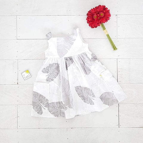 Poppy Dress in Banana Leaves Gray-Lil' Tati