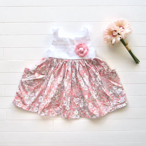 Poppy Dress in White Embroidery and Pale Flowers Pink-Lil' Tati