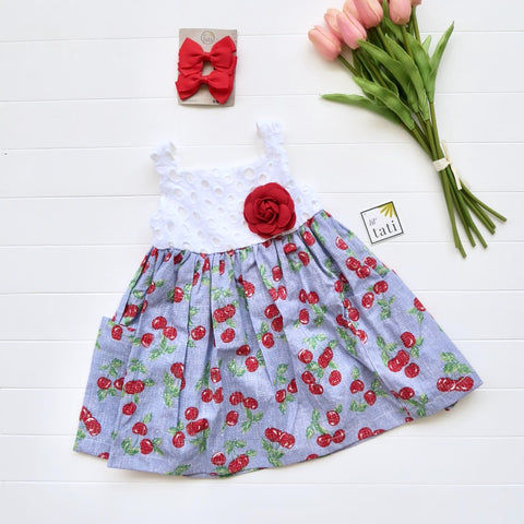 Poppy Dress in White Embroidery and Sky Cherries-Lil' Tati