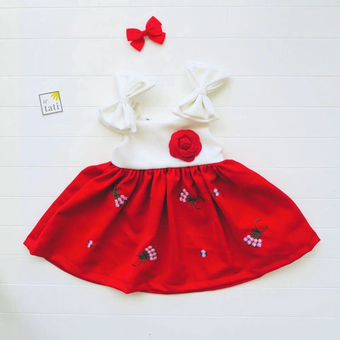 Poppy Ribbon Dress in White Neoprene and Red Embroidery-Lil' Tati