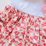 Poppy Ribbon Dress in Pretty Roses and White Linen